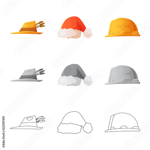 Foto  Vector design of headgear and cap symbol