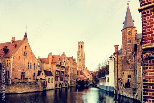 Deurstickers Brugge Landscape of the city of Bruges in Belgium