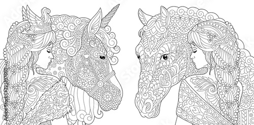 Fantasy Coloring Pages With Pretty Girls, Horse, Magic Unicorn - Buy This  Stock Vector And Explore Similar Vectors At Adobe Stock Adobe Stock