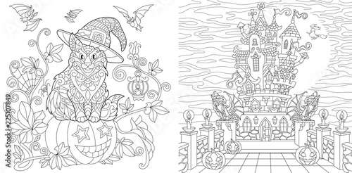 Halloween Cat Coloring Pages - GetColoringPages.com | 247x500