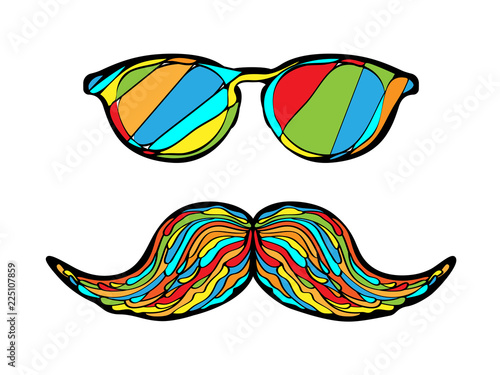 Man glass and mustache colorful image. Vector illustration. Wallpaper Mural