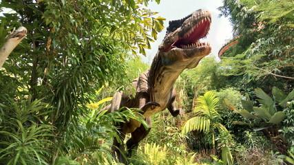 Panel Szklany Podświetlane Zwierzęta Tyrannosaurus Rex in Jungle