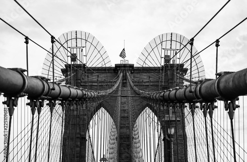 Printed kitchen splashbacks Brooklyn Bridge Brooklyn Bridge in monochrome , New York City, USA