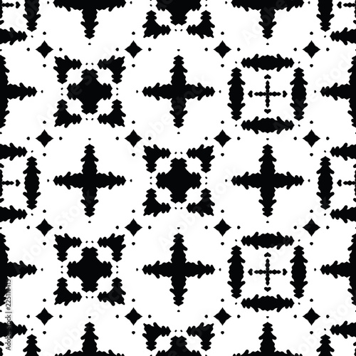 Fotografija  Monochrome Black on White Abstract Grid Vector Pattern Seamless , Hand Drawn Tex