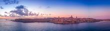 La Valletta Sunrise With Blue, Orange, Red, Yellow Sky In Malta