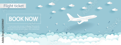 Travel and flight ticket advertising template with airplane in the sky, colorful background in paper cut style vector illustration Canvas Print