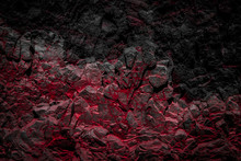 Black And Red Colored Rocks / Rock Wall Background