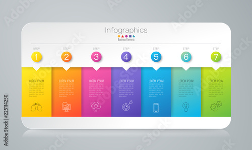 Photo  Infographics design vector and business icons with 7 options.