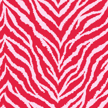 Seamless Pattern With Bright Red And Blush Pink Zebra Fur Print. Vector Illustration. Exotic Wild Animalistic Texture.