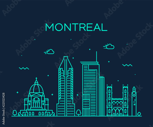 Montreal city skyline Quebec Canada vector linear