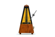 Mechanical Brown Antique Metronome On White