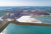 Industrial Lakes With Water. Part Of The System Of Recycled Water Supply Of Underground Salt Mines