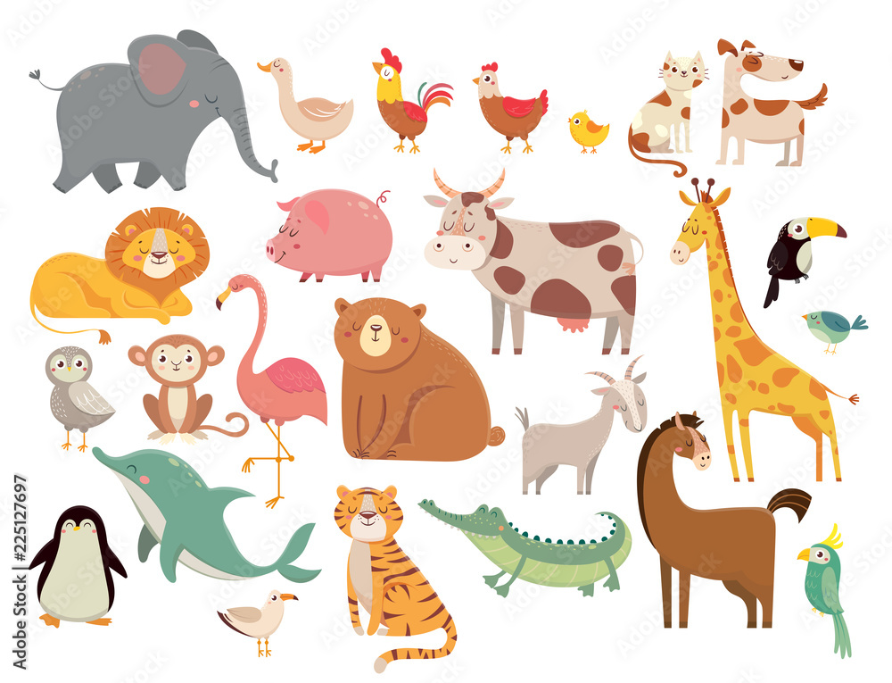 Cartoon animals. Cute elephant and lion, giraffe and crocodile, cow and chicken, dog and cat. Farm and savanna animals vector set