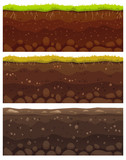 Fototapeta Dinusie - Seamless soil layers. Layered dirt clay, ground layer with stones and grass on dirts cliff texture vector pattern