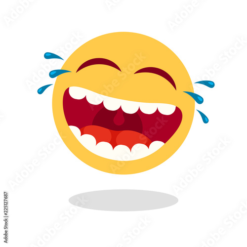 Laughing smiley emoticon Fotobehang