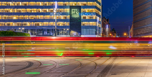 Tram passing by at main market in Katowice, Poland