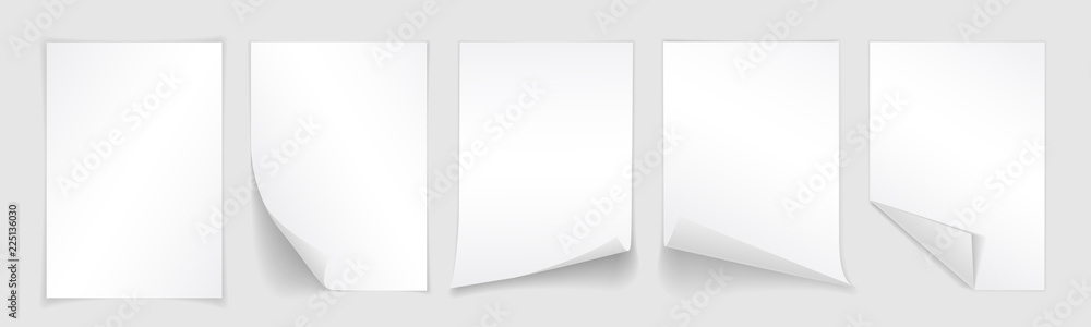 Fototapety, obrazy: Blank A4 sheet of white paper with curled corner and shadow, template for your design. Set. Vector illustration