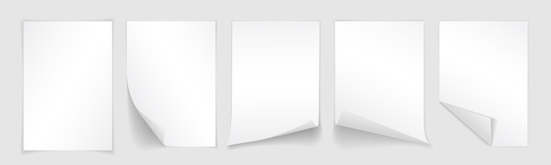 Blank A4 sheet of white paper with curled corner and shadow, template for your design. Set. Vector illustration