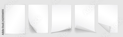 Obraz Blank A4 sheet of white paper with curled corner and shadow, template for your design. Set. Vector illustration - fototapety do salonu