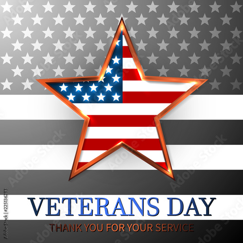 Pinturas sobre lienzo  Veterans Day of USA with star in national flag colors american flag