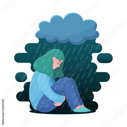 Obraz Sad, unhappy teenage girl, young woman sitting under rain, depression concept, flat vector illustration isolated on white background. Depressed, unhappy girl, woman sitting under rain cloud - fototapety do salonu