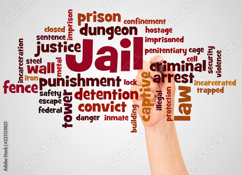 Fotografia, Obraz  Jail word cloud and hand with marker concept
