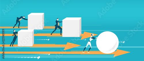 Fotografía  Business people pushing hard cubes
