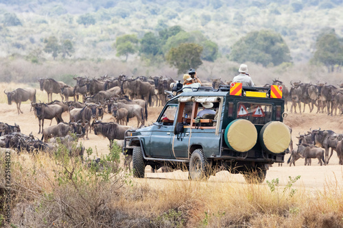 Fotomural Photographers shooting wildebeest in the Masai Mara