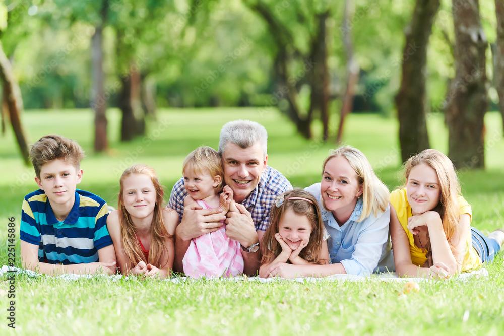 Fototapeta Family with many children outdoors