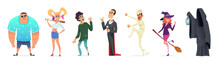 People In Costumes For Halloween. Character Design For A Happy Halloween Party. Vector Illustration.