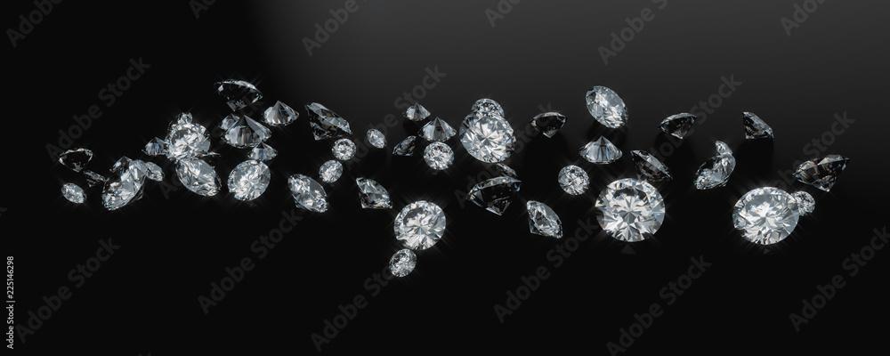 Fototapeta Diamond Group Placed On Dark Background 3D Rendering