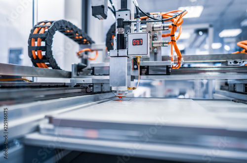 CNC Laser cutting of metal, modern industrial technology. Fototapete