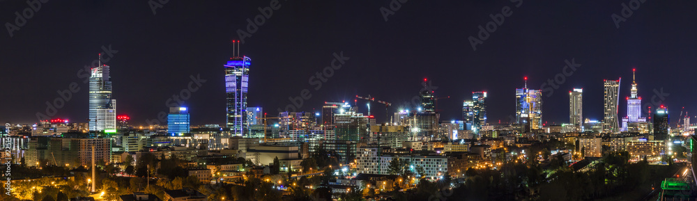 Fototapety, obrazy: Warsaw skyline by night
