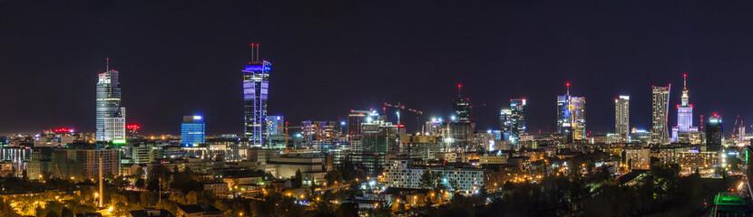 Fototapeta Miasto Nocą Warsaw skyline by night