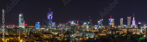 Foto op Canvas Stad gebouw Warsaw skyline by night