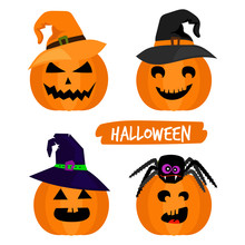 Cartoon Character Halloween Pumpkins Isolated On White Background, Vector Illustration