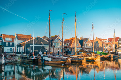 Photo  Urk sunset harbor old port urk Netherlands
