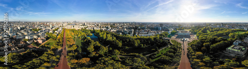 Canvas Print Aerial London City Skyline Wide 360 Degree Panorama View in Central London around Buckingham Palace feat