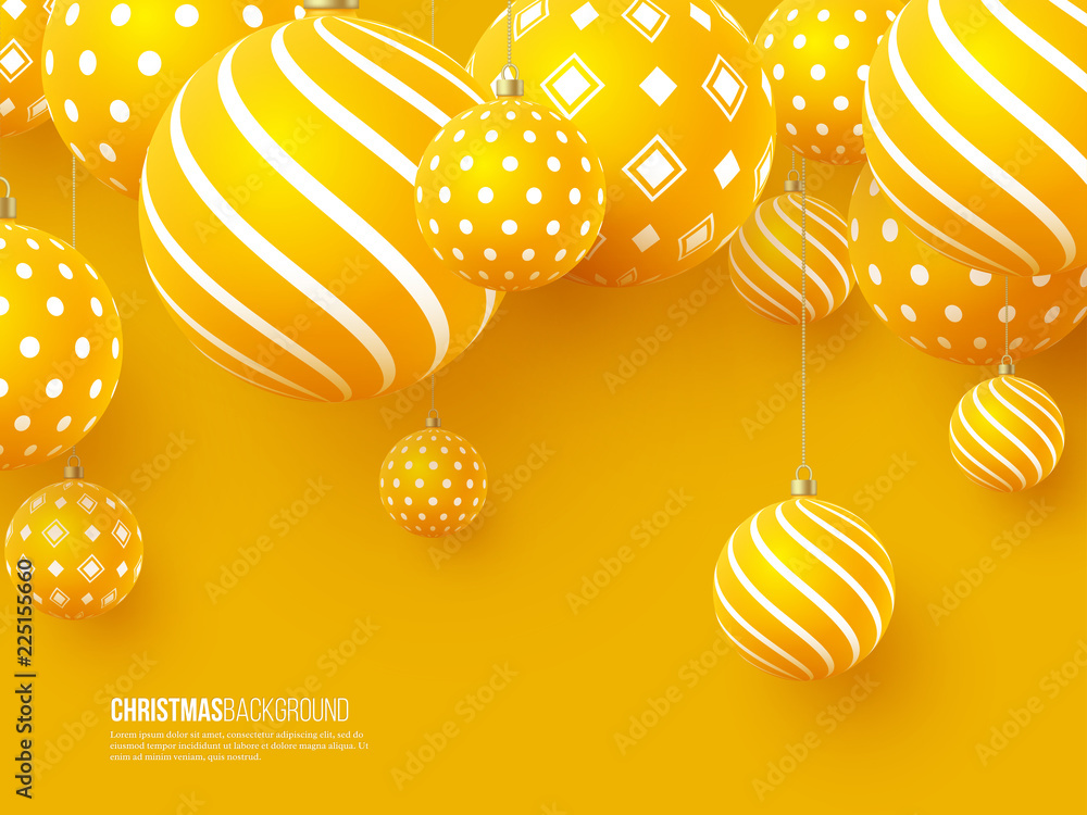 Fototapeta Christmas yellow balls with geometric pattern. 3d realistic style, abstract holiday background. Vector illustration.