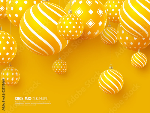 Obraz Christmas yellow balls with geometric pattern. 3d realistic style, abstract holiday background. Vector illustration. - fototapety do salonu