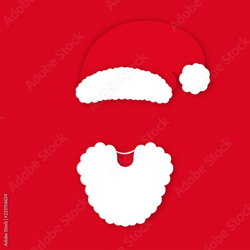 bae4cdd9fbf63d Santa Claus in hat on red background. Santa Claus's face silhouette with  lush white beard in origami style