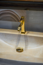 Golden Faucet And Marble Wash ...
