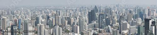 Aerial panorama view of skyscrapers in Bangkok, Thailand.