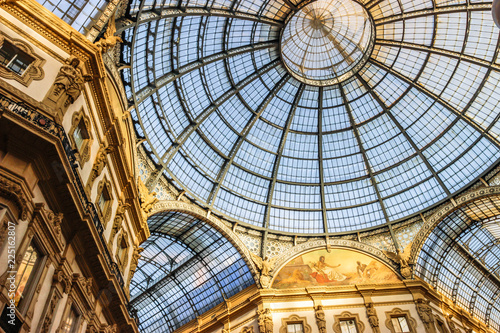 Milan City Center View of Glass Dome in Galleria Vittorio Emanuele, Italy