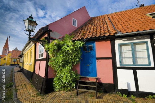 Fotografie, Obraz  Traditional colorful half-timbered houses in Ronne, Bornholm, Denmark