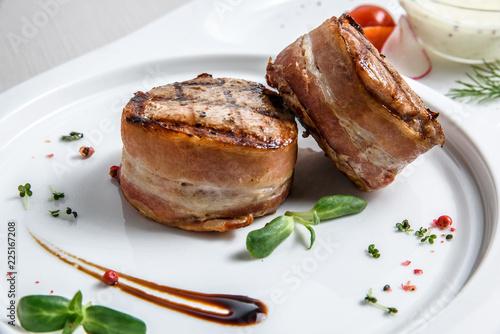 Grilled steak filet mignon wrapped bacon © qwasder1987