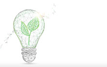Light Bulb With Green Plant Fo...