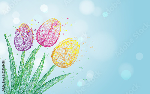 Tulip flowers form lines, triangles and particle style design Wallpaper Mural