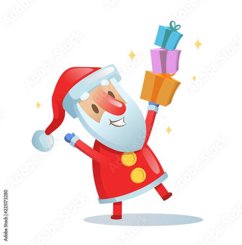 Christmas Dancing Cartoon.Funny Santa Dancing Cartoon Christmas Card Colorful Flat