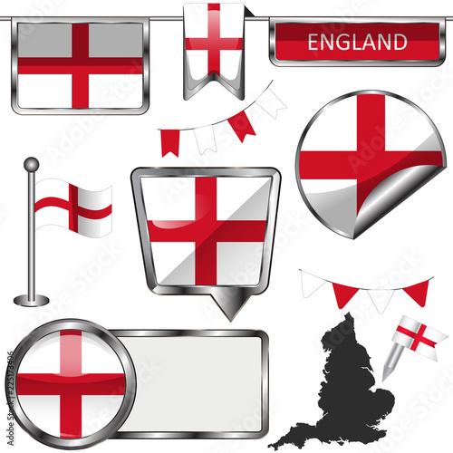 Fotografie, Obraz  Glossy icons with flag of England, United Kingdom